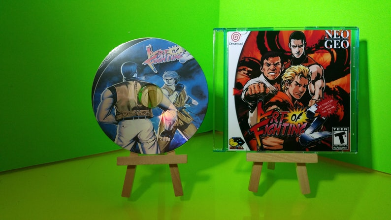 Art of Fighting 2 Sega Dreamcast Emulation Standalone reproduction case and  art with printed art disc with roms