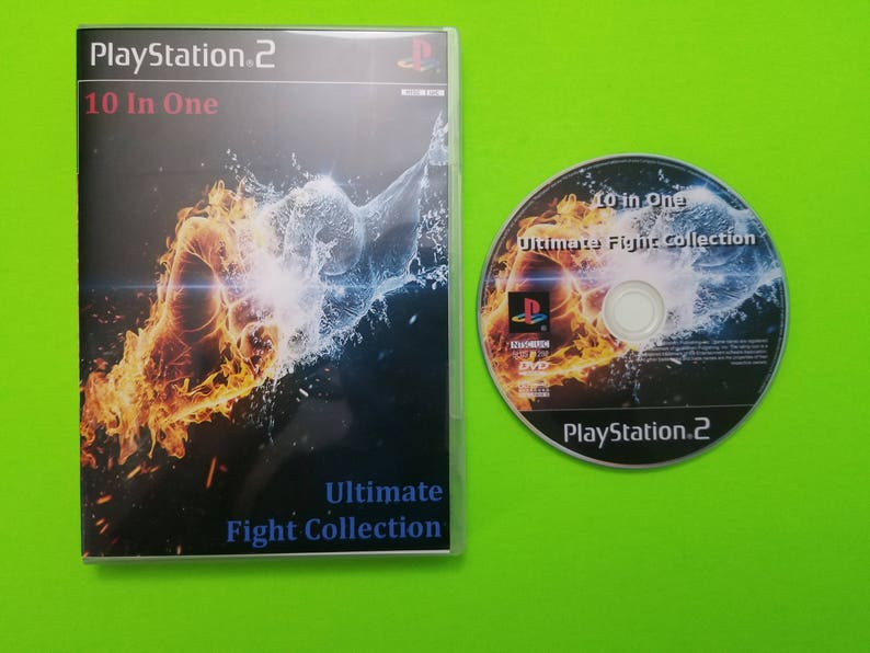 10 in one ultimat fight collection reproduction case and art disc with rom  home brew for the Playstation 2 , PS2