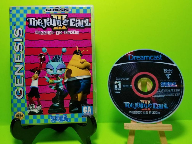reproduction custom case of ToeJam & Earl Mission to Earth with free art  disc and roms for the Sega Dreamcast