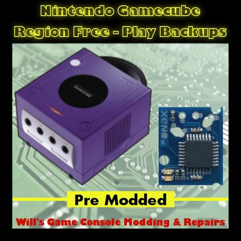 Nintendo GameCube XenoGC Modded - Mod Chipped - Region Free - Play Backups  - Full Size Disk Case Mod - Retro Gaming