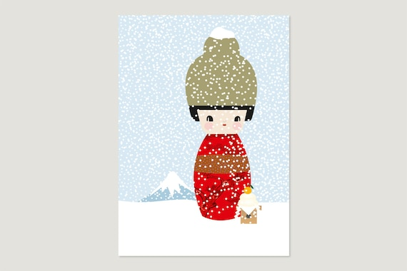 "Postcard: ""Kokeshi January"""