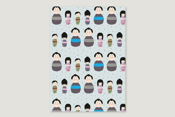 "Wrapping paper: ""Kokeshi.Dots"""