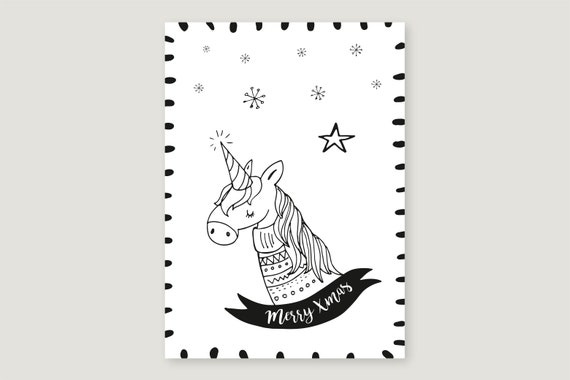 "Postcard: ""Merry Xmas Unicorn"""
