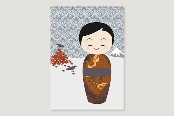 "Postcard: ""Kokeshi November"""