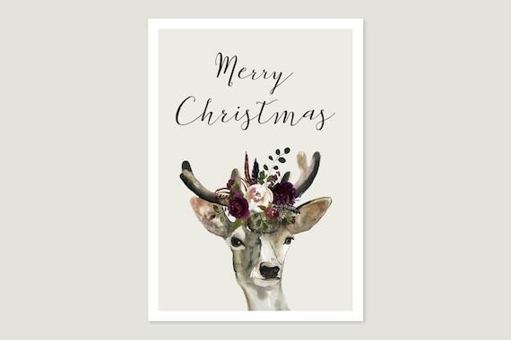 """Postcard: """"Merry Christmas Blumen.Hirsch"""""""