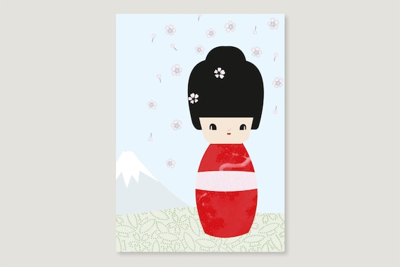 "Postcard: ""Kokeshi April"""