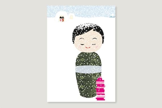 "Postcard: ""Kokeshi February"""
