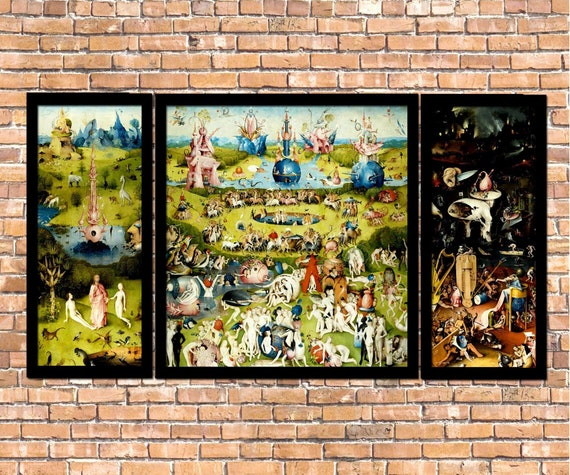 Hieronymus Bosch Garden of Earthly Delights Giclee Print Reproduction  Painting Large Size Canvas Paper Wall Art Poster Ready to Hang Frame