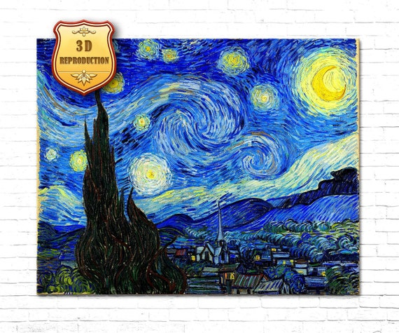 Starry Night By Vincent Van Gogh Print on Paper /& Canvas Giclee Poster