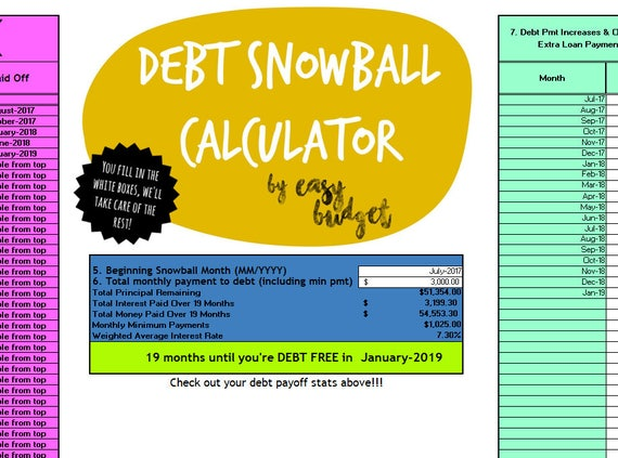 Debt Snowball Calculator Automatically Calculates Payoff Etsy