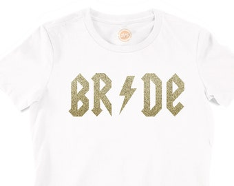 Stylish Rock Chick Bride T-Shirt with gold glitter print AC-DC theme Hen top