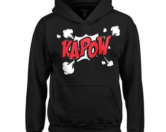 Kids Kapow! comic style Hoodie in black - For children, boys and girls