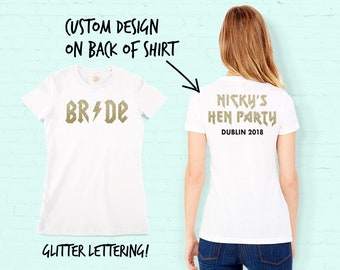 Custom Rock chick Bride Hen Party T-Shirt with gold glitter print