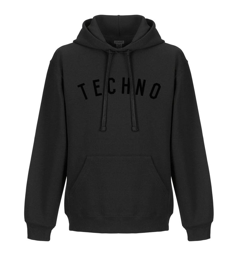 TECHNO college style hoodie in black - old school Ibiza, rave, Berlin and  Detroit!