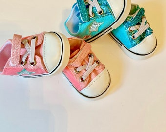 """Aqua Blue High Top Sneakers Shoes fit 18/"""" American Girl Size Doll"""