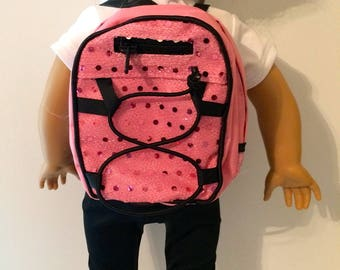 18 Inch Doll Clothes Pink Sequence Backpack With 2 Zippers And Black Straps Fits Like American Girl