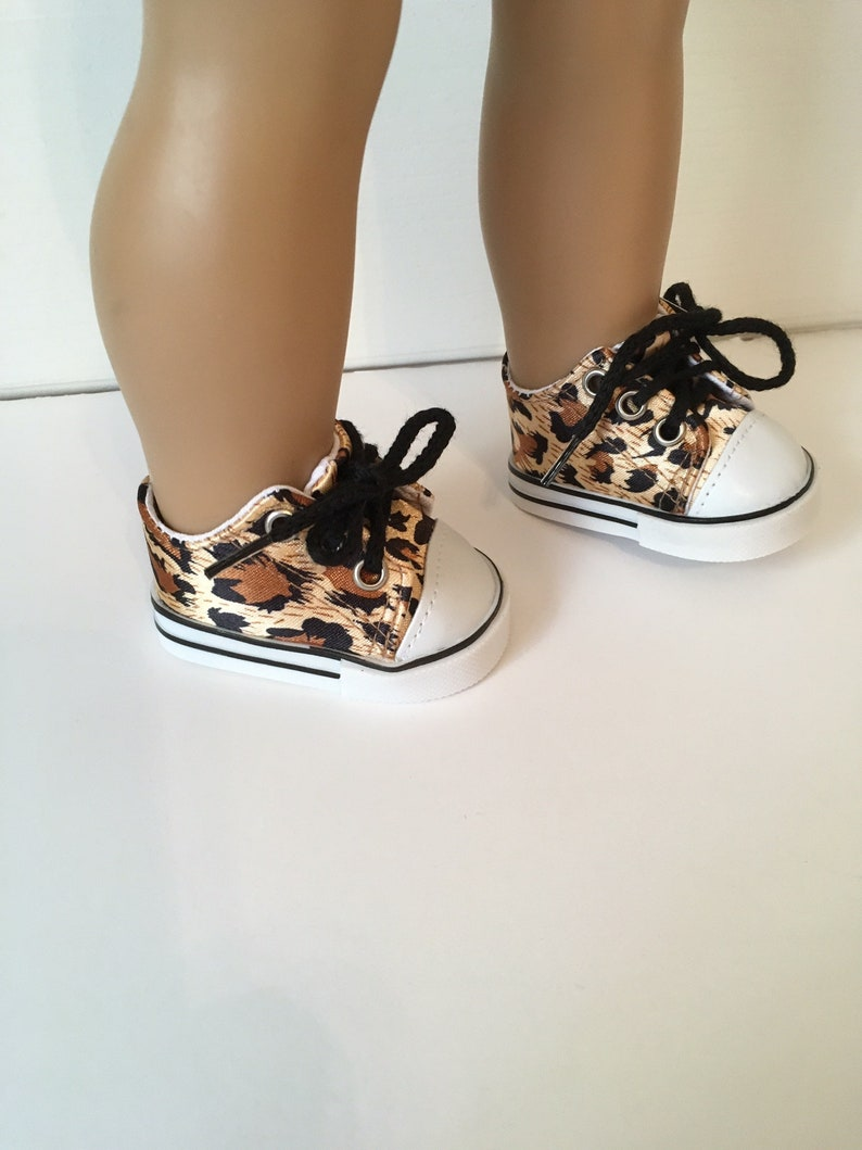 5906ef14637b3 Fits Like American Girl Doll Clothes, Leopard Canvas Tennis Shoes, 18 Inch  Doll Shoes, Doll Shoes, Tennis Shoes, 18 Inch Doll Clothes, Shoes