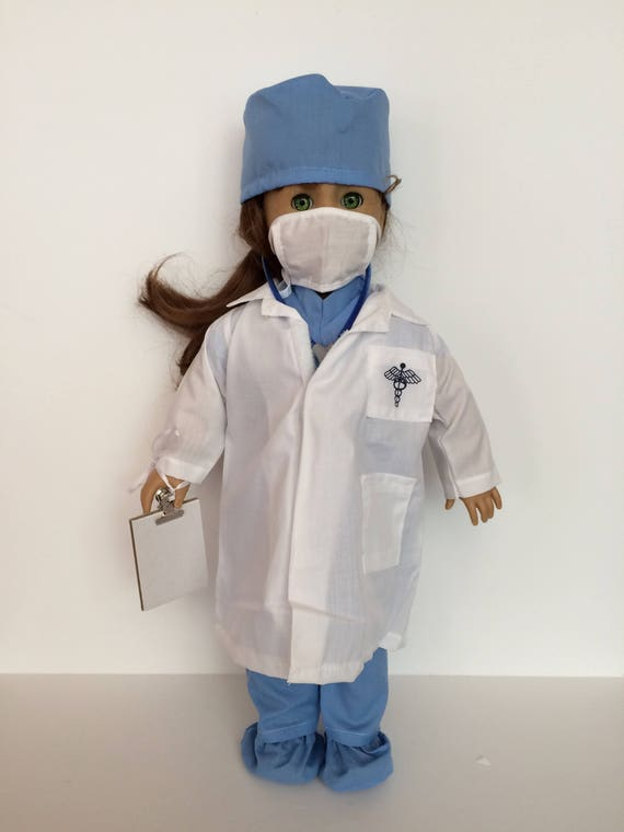"""Nurse Scrubs Costume PANTS TOP JACKET Doll Clothes For 18/"""" American Girl Debs"""