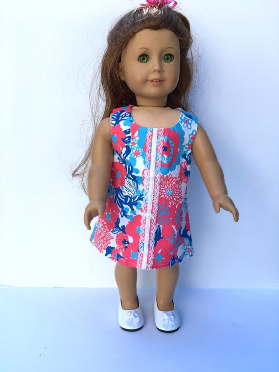 Easter Pink Flower Shift Dress American Made Doll Clothes For 18 Inch Girl Dolls