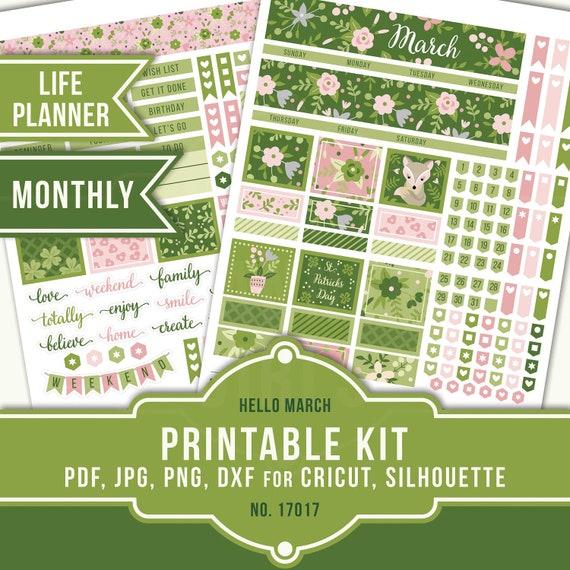 Shamrock Kit kit-34 Patrick/'s Day Budget Bundle Kit for Erin Condren Planners March 2020 St