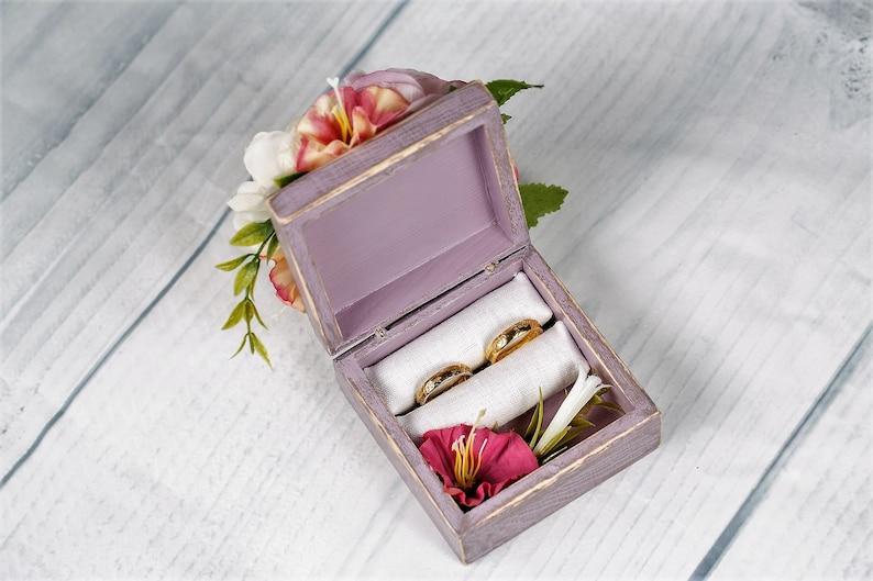 WeddingEngagement Ring Box Wedding Flower Ring Box Rustic Wedding Ring Holder Pillow Bearer Box Wooden Box Decoration Flowers Wood Ring Box