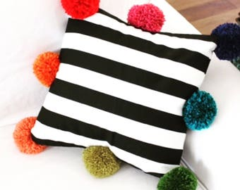 BIG SALE ..Cushion,Pom pom,Striped,Bedroom,Room,Cotton,Giftforher,Boho chick,