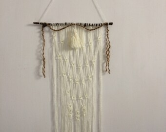 Wall yarn hanging, Boho chick, wall hanger, Silver crystals, Yarn,Gift for her, Birthday, Present