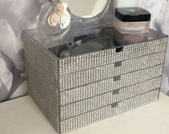 Sale ends soon... Acrylic organiser 5 tier Jewellery,makeup, silver crystals,mirror, Gifts for her, Boho chick jewellery box, makeup box.