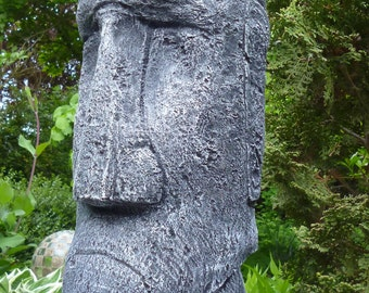Moai - Tiki - Easter Island - Figurine - Sculpture-39 cm-Stone Casting-Frostfest-Patinated-Concrete-Garden Ornament