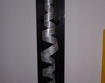 """Large Modern Abstract Wood Aluminum Artist Wall Sculpture """"Spow"""" 90 cm contemporary art Sculpture en métal Escultura en metal"""