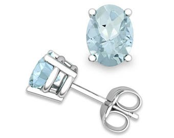 Aquamarine earrings white gold (2.5ct total)