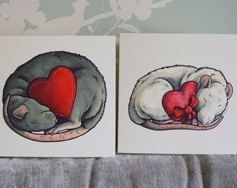 PET FANCY RAT printed art watercolour design greetings card by Yorkshire artist Jess Chappell, anniversary, wedding, birthday, card for her