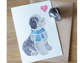 OLD ENGLISH SHEEPDOG bobtail oes breed cute notecards for gifts/greetings by York animal artist, watercolour, thankyou, condolences 5 pack