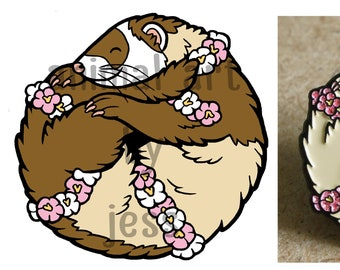 PREORDER - cute FERRET sable/polecat limited edition glitter enamel pin, perfect gift for ferret owners