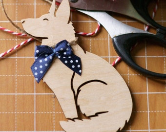 GERMAN SHEPHERD DOG Alsatian natural wooden ornament, perfect Easter or Christmas tree decoration or condolence gift