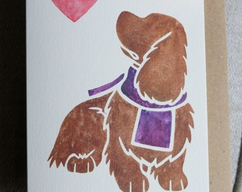 SUSSEX SPANIEL gundog breed cute notecards for gifts or greetings by York animal artist, watercolour, thank you, condolences 5 pack