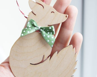 Cute RED FOX animal natural wooden Christmas or Easter tree decoration