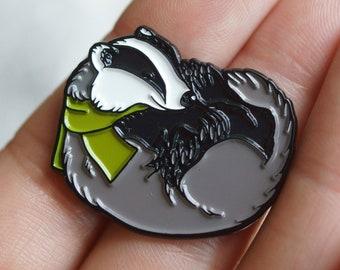 Cute EUROPEAN BADGER British wildlife enamel pin, perfect gift for nature lovers