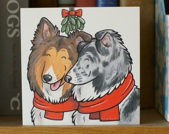 SHETLAND SHEEPDOG sheltie collie Xmas holiday Christmas cards 5-pack by Yorkshire animal artist Jess Chappell