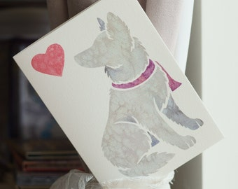 6 White Shepherd Dog German Blanc Berger Suisse Blank Art Note Greeting Cards