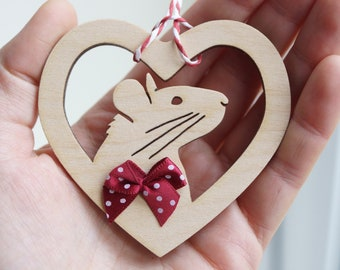 Cute pet fancy RAT animal natural wooden christmas tree decoration