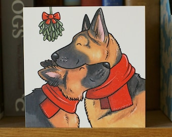 GERMAN SHEPHERD DOG gsd Alsatian Xmas holiday Christmas cards 5-pack by Yorkshire animal artist Jess Chappell