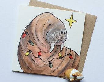 Arctic WALRUS Xmas holiday Christmas cards 5-pack by Yorkshire animal artist Jess Chappell