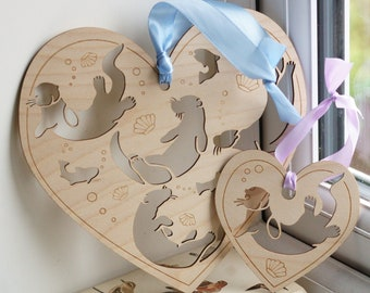 Cute OTTER animal natural hanging wooden ornament, two different sizes, perfect gift for otter lovers!