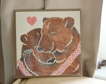 BROWN/GRIZZLY BEAR hug printed watercolour design greetings card by York artist Jess Chappell, birthday, Father's day, anniversary, friend