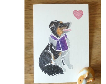 ENGLISH SHEPHERD sheepdog cute notecards gifts greetings York animal artist, watercolour, thank you, birthday, 5 pack