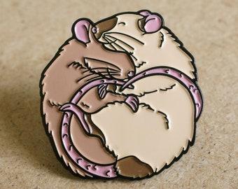 Cute pet fancy rat soft enamel pin, siamese & cinnamon/agouti, perfect gift for ratty lovers