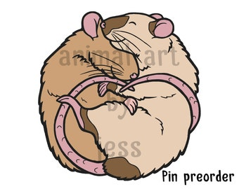 PIN PREORDER ONLY ** Cute pet fancy rat soft enamel pin, perfect gift for ratty lovers