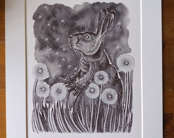 """BROWN HARE British wildlife - 14x11"""" mounted signed print of an ink drawing by Yorkshire artist Jess Chappell, on fine art watercolour paper"""