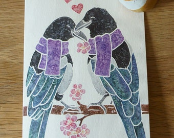Two for joy MAGPIE bird corvid notecards gifts greetings watercolour design by York animal artist, thank you, condolences etc 5 pack